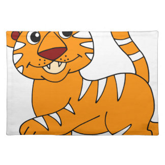 Super Cute Tiger Orange with White Stripes Cloth Placemat
