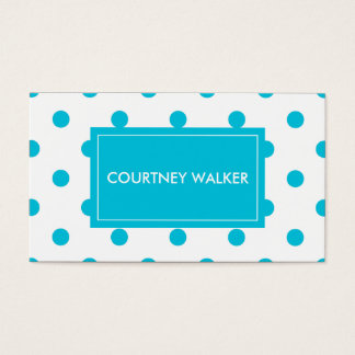 Super Cute turquoise polka dot business cards