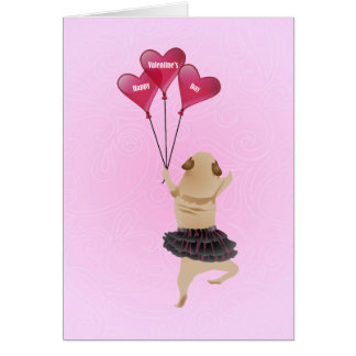 Super Cute Valentine Pug in Tutu with Balloons Greeting Card