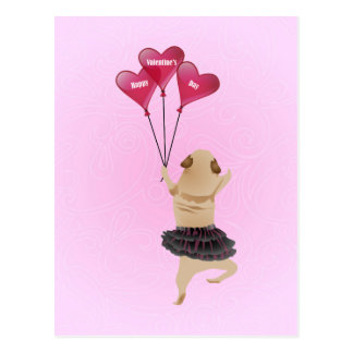 Super Cute Valentine Pug in Tutu with Balloons Postcards