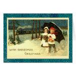 Super Cute Vintage Snowy Christmas Train Ride Card