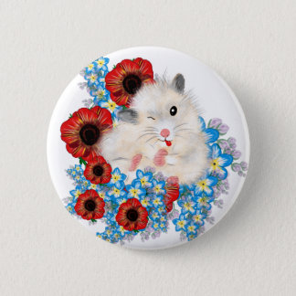 Super cute white sable syrian hamster in flowers pinback button