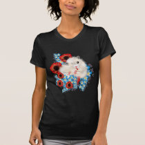 Super cute white sable syrian hamster in flowers T-Shirt