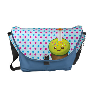 Super cute Yummy cupcake with a smile messenger ba Courier Bag