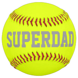 Super dad in fluorescent  yellow softball