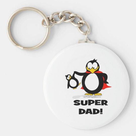 Super Dad Penguin Keychain