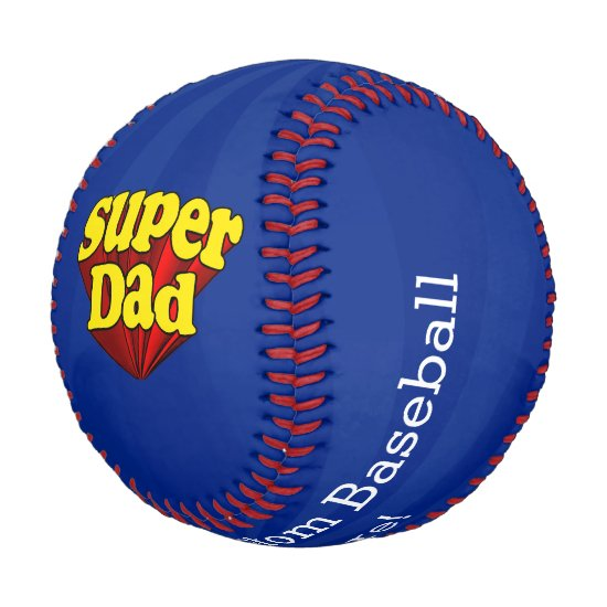Super Dad Red Yellow Blue Father's Day Superhero Baseball