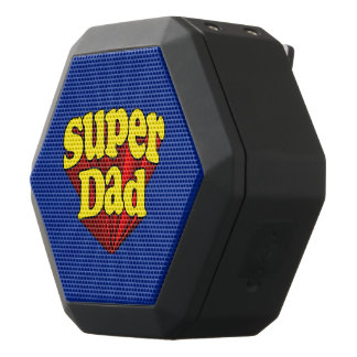 Super Dad Red Yellow Blue Father's Day Superhero Black Bluetooth Speaker