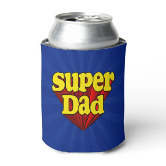 Super Dad Red Yellow Blue Father's Day Superhero Can Cooler