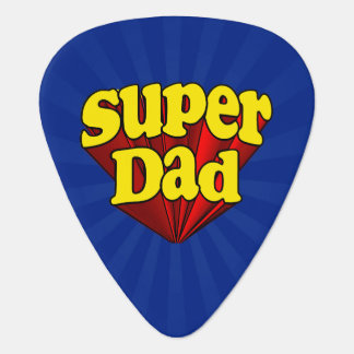 Super Dad Red Yellow Blue Father's Day Superhero Guitar Pick