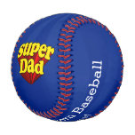 Super Dad Red Yellow Blue Father's Day Superhero Baseballs