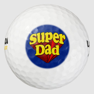 Super Dad Red Yellow Blue Father's Day Superhero Pack Of Golf Balls