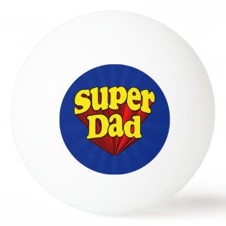 Super Dad Red Yellow Blue Father's Day Superhero Ping Pong Ball