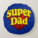 Super Dad Red Yellow Blue Father's Day Superhero Round Pillow