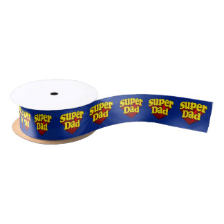 Super Dad Red Yellow Blue Father's Day Superhero Satin Ribbon