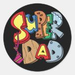 Super Dad Round Stickers