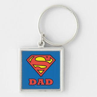 Super Dad Silver-Colored Square Keychain