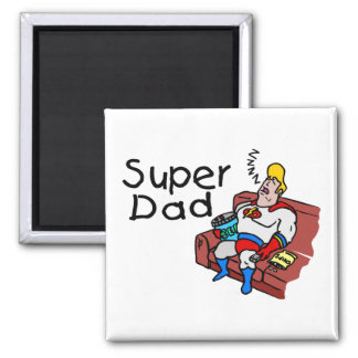Super Dad (Sleeping) 2 Inch Square Magnet