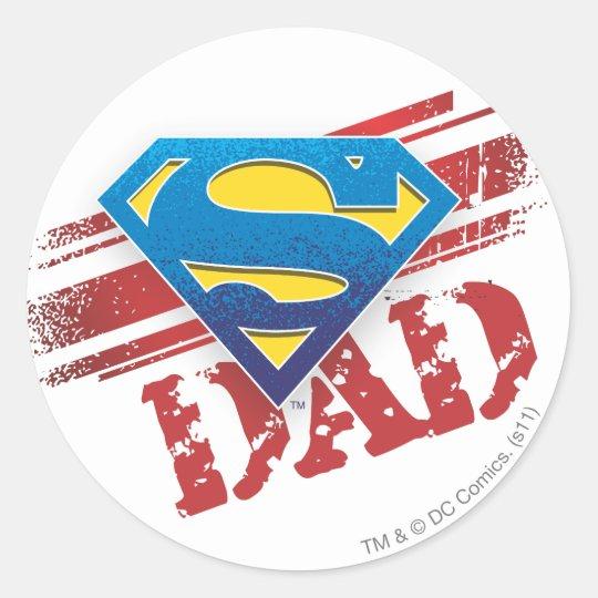Super Dad Stripes Classic Round Sticker