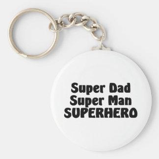 Super Dad Super Man Superhero Keychain