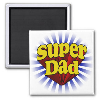 Super Dad, Superhero Red/Yellow/Blue 2 Inch Square Magnet