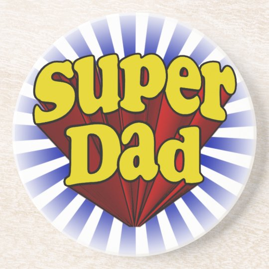 Super Dad, Superhero Red/Yellow/Blue Drink Coaster