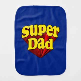 Super Dad Superhero Red Yellow Blue Father s Day Baby Burp Cloths