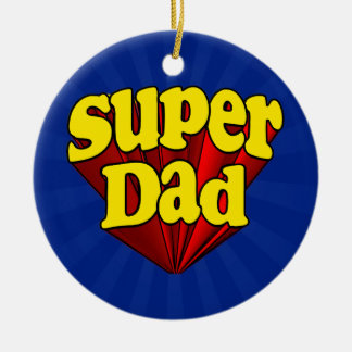 Super Dad, Superhero Red/Yellow/Blue Father's Day Ceramic Ornament
