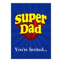 Super Dad, Superhero Red/Yellow/Blue Father's Day Invitation