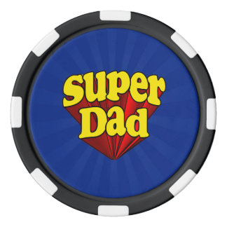 Super Dad, Superhero Red/Yellow/Blue Father's Day Poker Chips