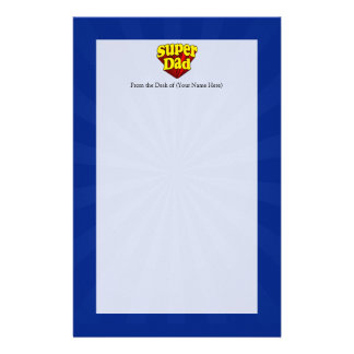Super Dad, Superhero Red/Yellow/Blue Father's Day Stationery