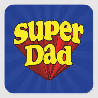 Super Dad, Superhero Red/Yellow/Blue Father's Day Square Sticker