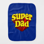 Super Dad, Superhero Red/Yellow/Blue Father's Day Baby Burp Cloths