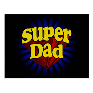 Super Dad, Superhero Red/Yellow/Blue Postcard
