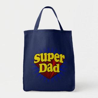 Super Dad, Superhero Red/Yellow/Blue Tote Bag