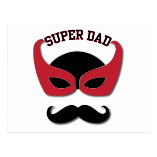 Super Dad With Mustache Postcard