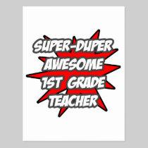 Super Duper Awesome 1st Grade Teacher Postcard