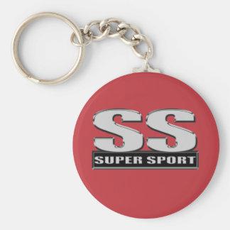super duper sport red basic round button keychain