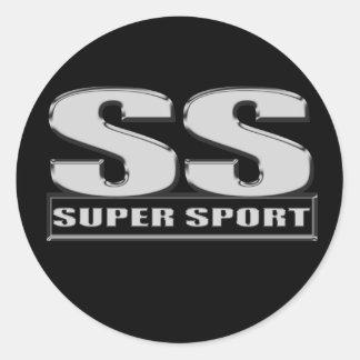 super duper sport SS black Round Stickers