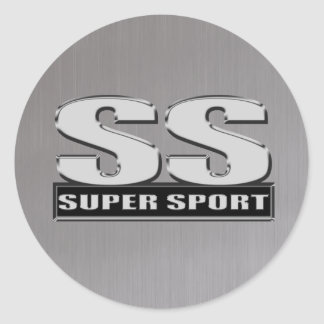 super duper sport steel gray classic round sticker