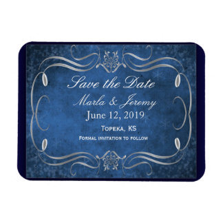 Super elegant blue and silver save the date magnet