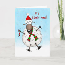 Super Excited It's Christmas Sheep Holiday Card