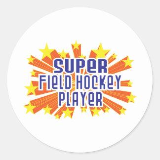 Super Field Hockey Player Classic Round Sticker