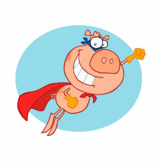 super flying pig hero cartoon photo cut outs