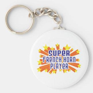 Super French Horn Player Basic Round Button Keychain