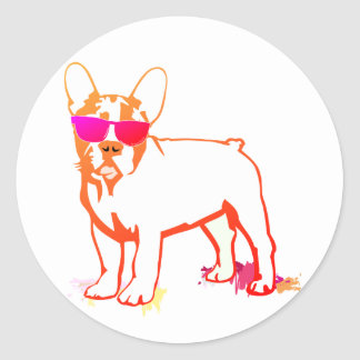 Super Frenchie Bulldog Classic Round Sticker