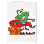 super frog fighting flies since 2011 greeting cards