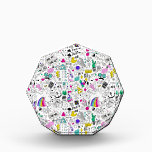 """Super Fun Black White Rainbow 80s Sketch Cartoon Award<br><div class=""""desc"""">So much fun in one print! This pattern is a black and white cartoon sketch with colorful touches throughout. Features pieces like rainbow clouds, flamingos, donuts, cupcakes and ice cream, 80s icons, skateboards, anchors, sneakers, cacti, mustaches, cameras and SO MUCH MORE!!! Great for an 80s party, or just a ton...</div>"""