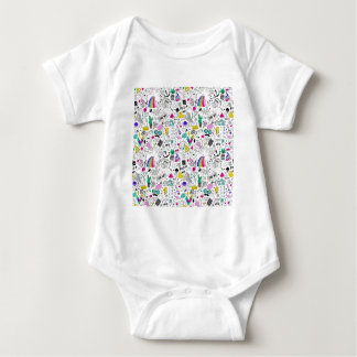 Super Fun Black White Rainbow 80s Sketch Cartoon Baby Bodysuit