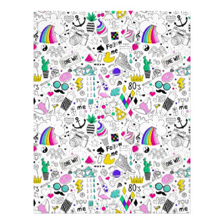Super Fun Black White Rainbow 80s Sketch Cartoon Letterhead